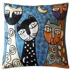 Pyntepute Fire katter i blå natt
